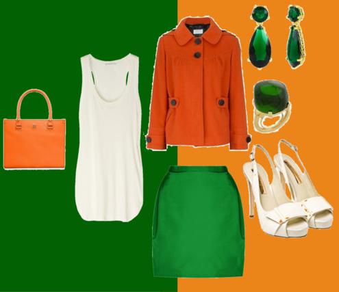 сочетание зеленого с оранжевым и белым цветом