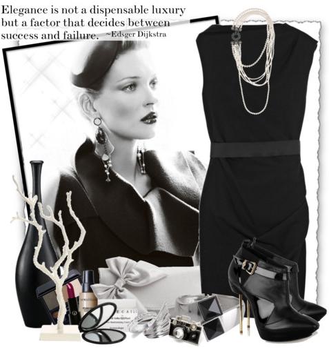 черное платье в стиле Шанель