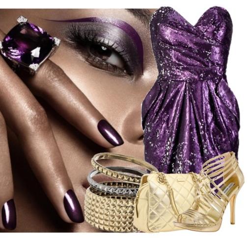 фиолетовый и золотой
