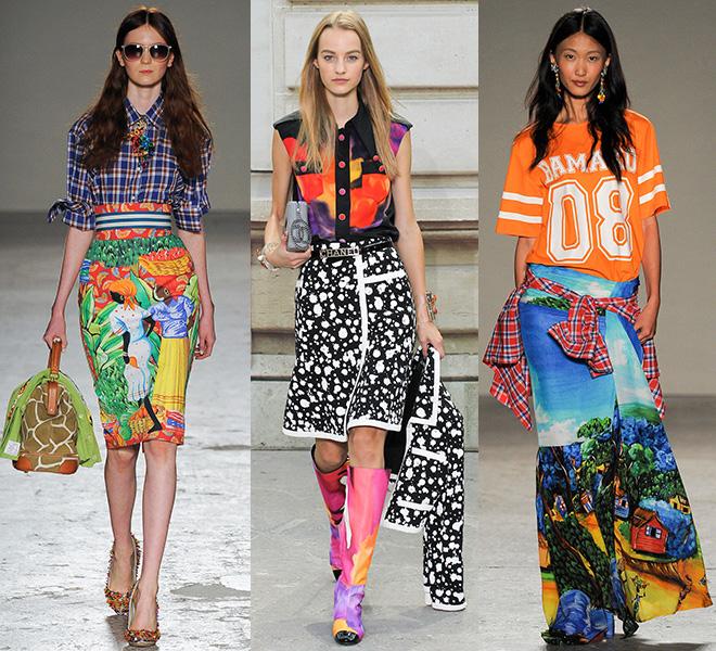 Мода весна-лето 2015: микс из материалов и принтов